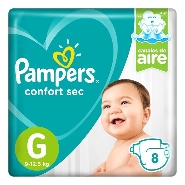 Pañales Pampers Confort Sec G 8 Unidades