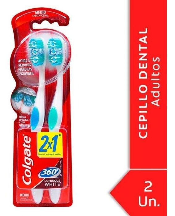 Cepillo Dental Colgate 360º Luminous White Medio 2 Unidades