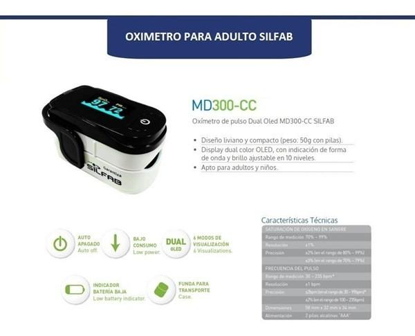 Oximetro Saturometro De Pulso Digital Curva Silfab Md300ccl alt