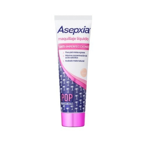 Asepxia Maquillaje Liquido Color Claro 10gr