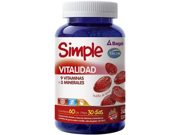 Simple Vitalidad Bagó 60 Pastillas De Goma Vitaminas