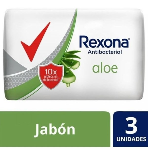 Jabón Rexona Antibacterial Aloe En Barra 3un X90g