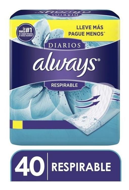 Protectores Diarios Always Respirable 40 Un