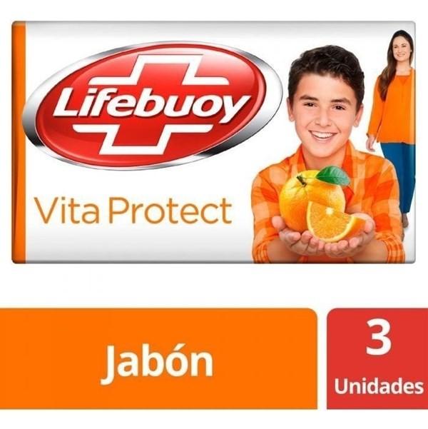 Jabón Antibacterial Lifebuoy Vitaprotect Barra 3 Unid X125g