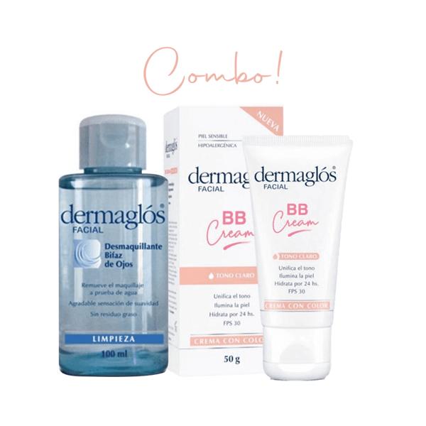 Combo Dermaglós BB Cream Tono Claro + Desmaquillante Bifásico