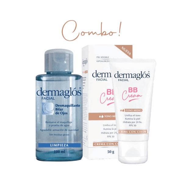 Combo Dermaglós BB Cream Tono Medio + Desmaquillante Bifásico