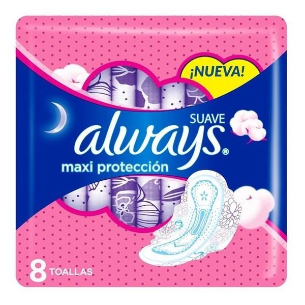 Toallas Femeninas Always Maxi Proteccion Suave X8u