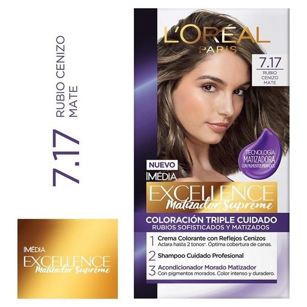 L'Oreal Excellence Matizador Supreme 7.17 Rubio Cenizo Mate