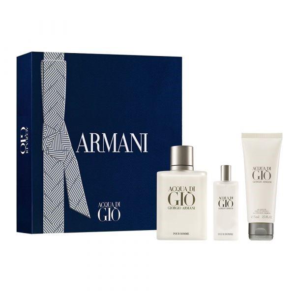 Cofre Acqua Di Gio Men EDT X 100 + Mini Talla X 15 Ml + Shower Gel X 75 Ml