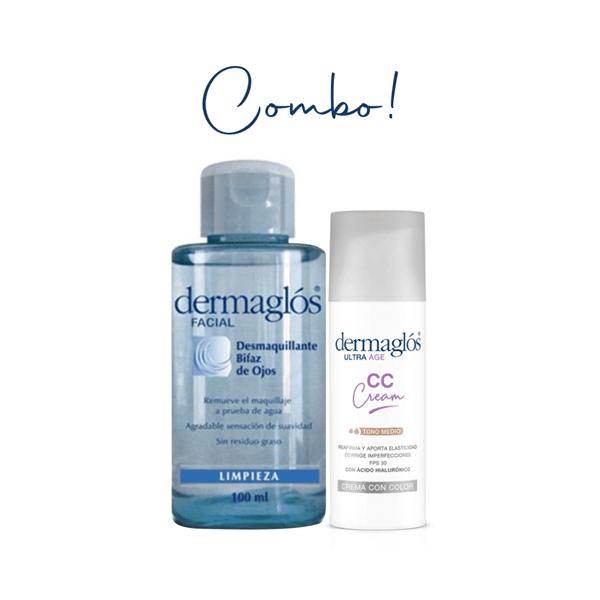 Combo Dermaglós CC Cream Tono Medio + Desmaquillante Bifásico
